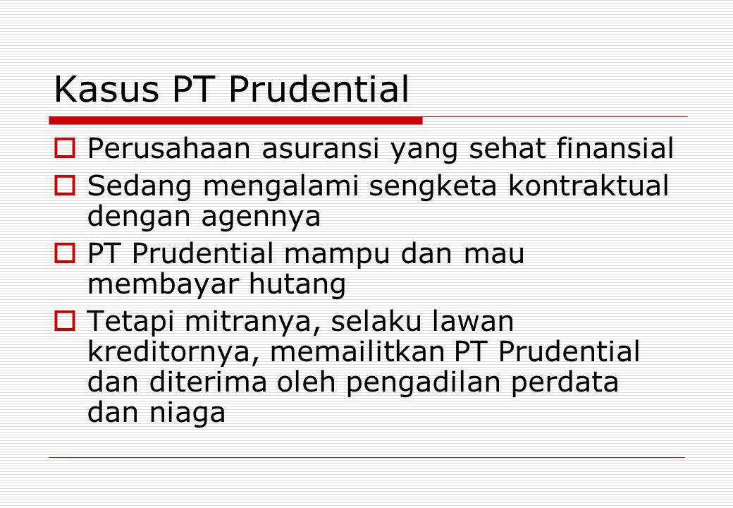 Kasus PT Prudential  Perusahaan asuransi yang sehat finansial  Sedang mengalami sengketa kontraktual dengan agennya  PT Prudential mampu dan mau me