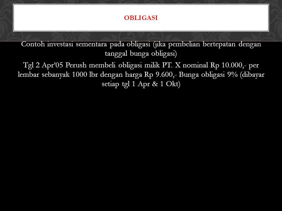 Contoh investasi sementara pada obligasi (jika pembelian bertepatan dengan tanggal bunga obligasi) Tgl 2 Apr'05 Perush membeli obligasi milik PT. X no
