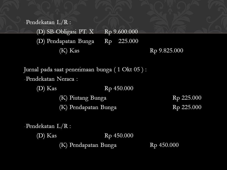 -Pendekatan L/R : (D) SB-Obligasi PT. XRp 9.600.000 (D) Pendapatan BungaRp 225.000 (K) KasRp 9.825.000 Jurnal pada saat penerimaan bunga ( 1 Okt 05 )