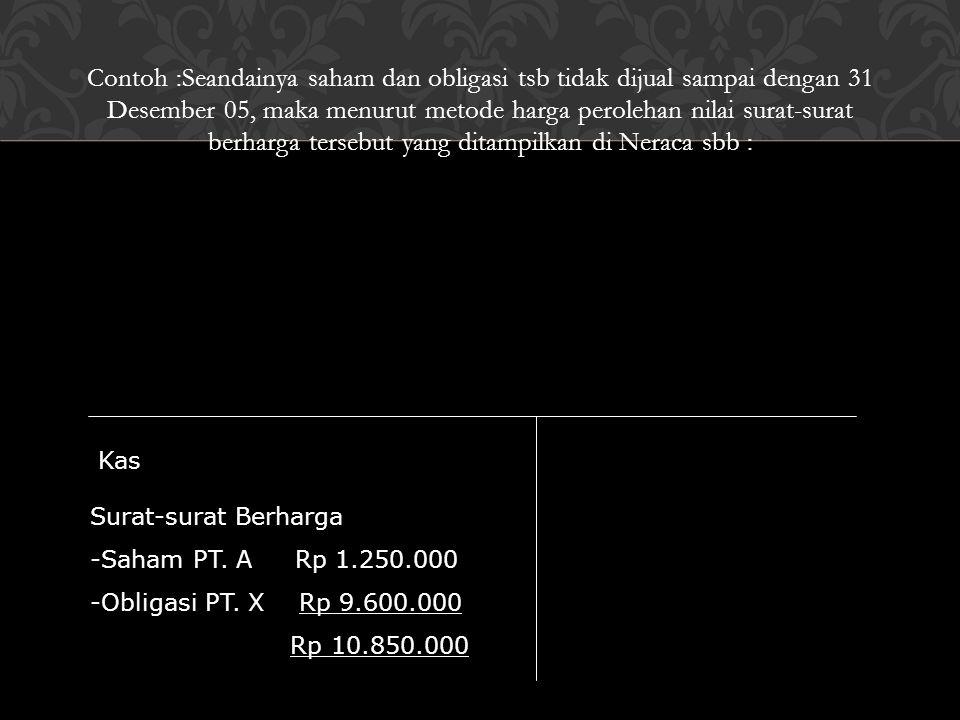 Contoh :Seandainya saham dan obligasi tsb tidak dijual sampai dengan 31 Desember 05, maka menurut metode harga perolehan nilai surat-surat berharga te