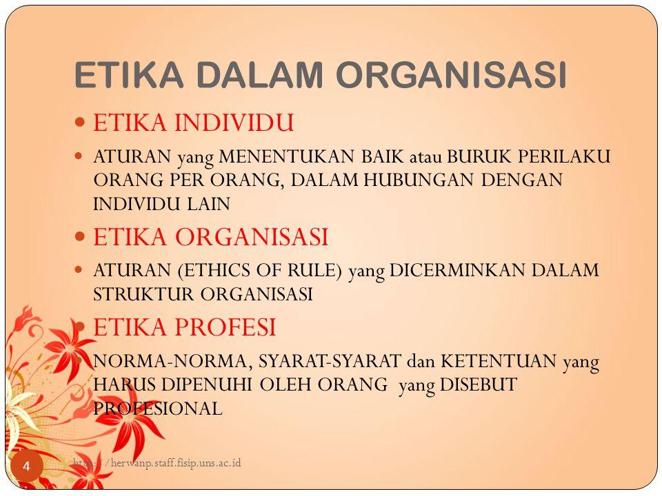 ETIKA DALAM ORGANISASI 4 ETIKA INDIVIDU ATURAN yang MENENTUKAN BAIK atau BURUK PERILAKU ORANG PER ORANG, DALAM HUBUNGAN DENGAN INDIVIDU LAIN ETIKA ORGANISASI ATURAN (ETHICS OF RULE) yang DICERMINKAN DALAM STRUKTUR ORGANISASI ETIKA PROFESI NORMA-NORMA, SYARAT-SYARAT dan KETENTUAN yang HARUS DIPENUHI OLEH ORANG yang DISEBUT PROFESIONAL http://herwanp.staff.fisip.uns.ac.id