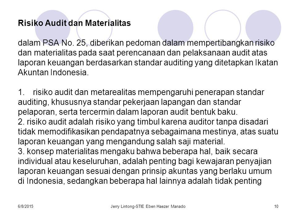 6/8/2015Jerry Lintong-STIE Eben Haezer Manado10 Risiko Audit dan Materialitas dalam PSA No. 25, diberikan pedoman dalam mempertibangkan risiko dan mat