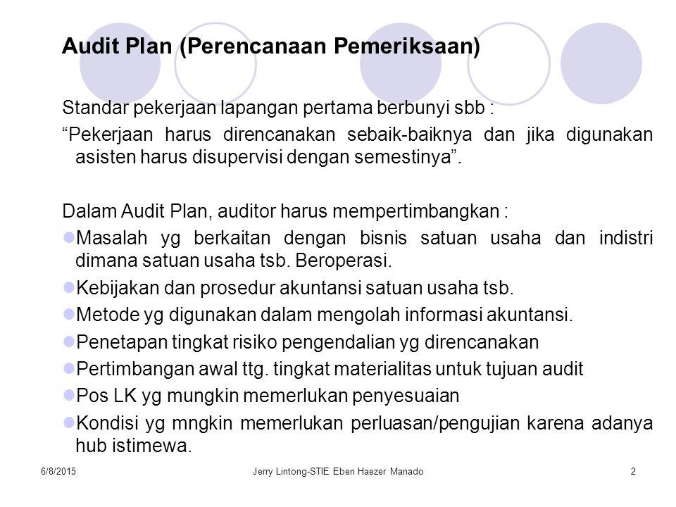 """6/8/2015Jerry Lintong-STIE Eben Haezer Manado2 Audit Plan (Perencanaan Pemeriksaan) Standar pekerjaan lapangan pertama berbunyi sbb : """"Pekerjaan harus"""
