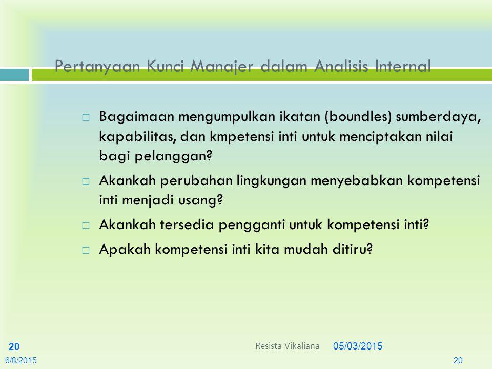 05/03/2015 20 Pertanyaan Kunci Manajer dalam Analisis Internal  Bagaimaan mengumpulkan ikatan (boundles) sumberdaya, kapabilitas, dan kmpetensi inti