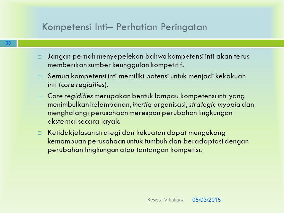 Kompetensi Inti– Perhatian Peringatan 05/03/2015 38  Jangan pernah menyepelekan bahwa kompetensi inti akan terus memberikan sumber keunggulan kompeti