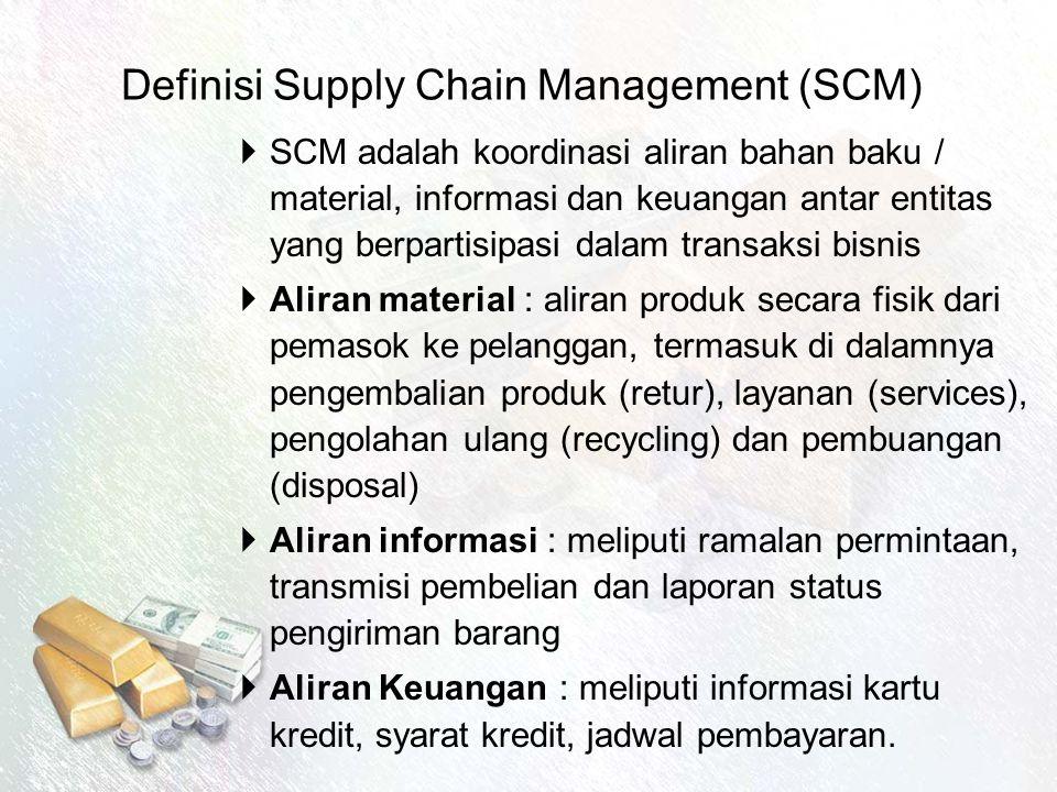 Definisi Supply Chain Management (SCM)  SCM adalah koordinasi aliran bahan baku / material, informasi dan keuangan antar entitas yang berpartisipasi dalam transaksi bisnis  Aliran material : aliran produk secara fisik dari pemasok ke pelanggan, termasuk di dalamnya pengembalian produk (retur), layanan (services), pengolahan ulang (recycling) dan pembuangan (disposal)  Aliran informasi : meliputi ramalan permintaan, transmisi pembelian dan laporan status pengiriman barang  Aliran Keuangan : meliputi informasi kartu kredit, syarat kredit, jadwal pembayaran.