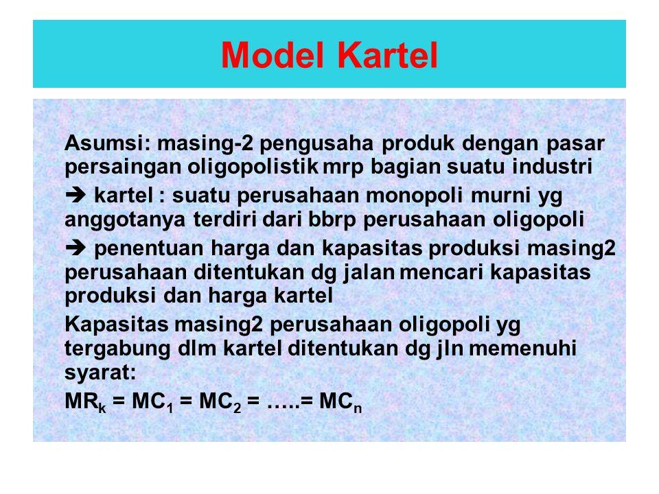 Asumsi: masing-2 pengusaha produk dengan pasar persaingan oligopolistik mrp bagian suatu industri  kartel : suatu perusahaan monopoli murni yg anggot