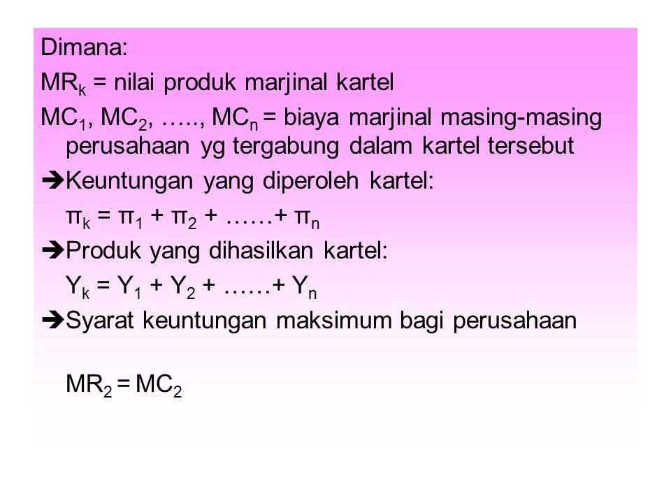Dimana: MR k = nilai produk marjinal kartel MC 1, MC 2, ….., MC n = biaya marjinal masing-masing perusahaan yg tergabung dalam kartel tersebut  Keunt