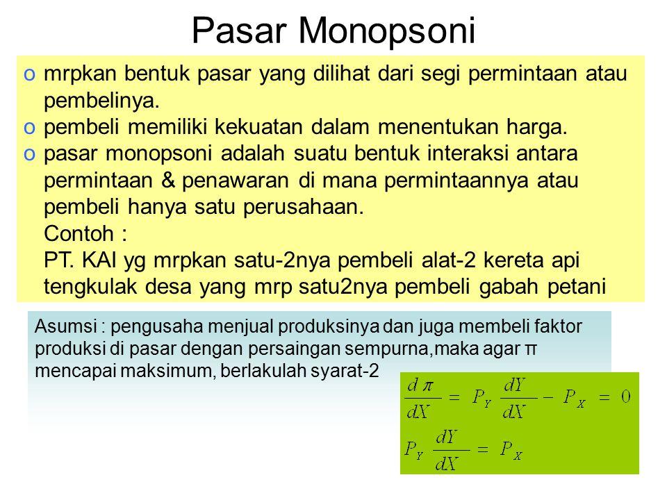 Pasar Monopsoni Asumsi : pengusaha menjual produksinya dan juga membeli faktor produksi di pasar dengan persaingan sempurna,maka agar π mencapai maksi