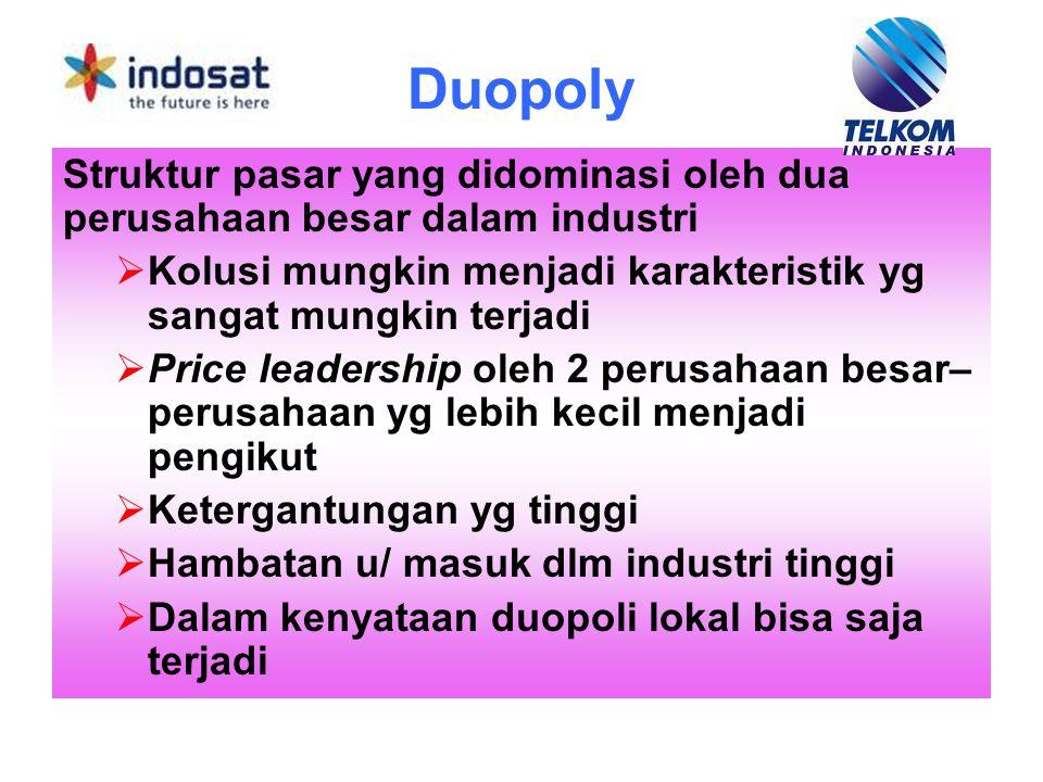 Duopoly Struktur pasar yang didominasi oleh dua perusahaan besar dalam industri  Kolusi mungkin menjadi karakteristik yg sangat mungkin terjadi  Pri