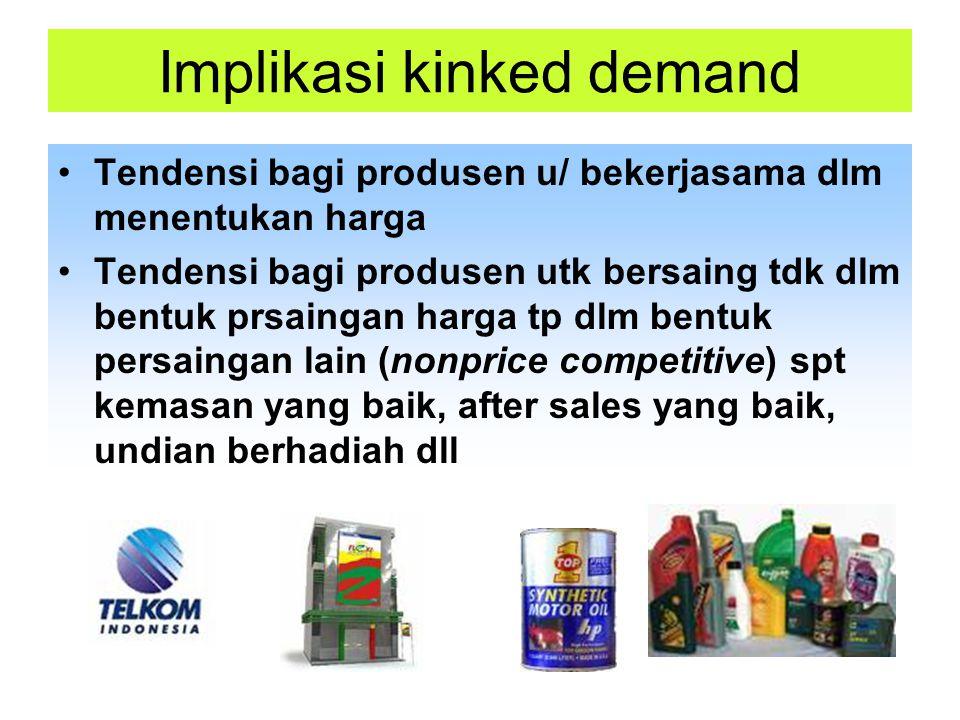 Implikasi kinked demand Tendensi bagi produsen u/ bekerjasama dlm menentukan harga Tendensi bagi produsen utk bersaing tdk dlm bentuk prsaingan harga