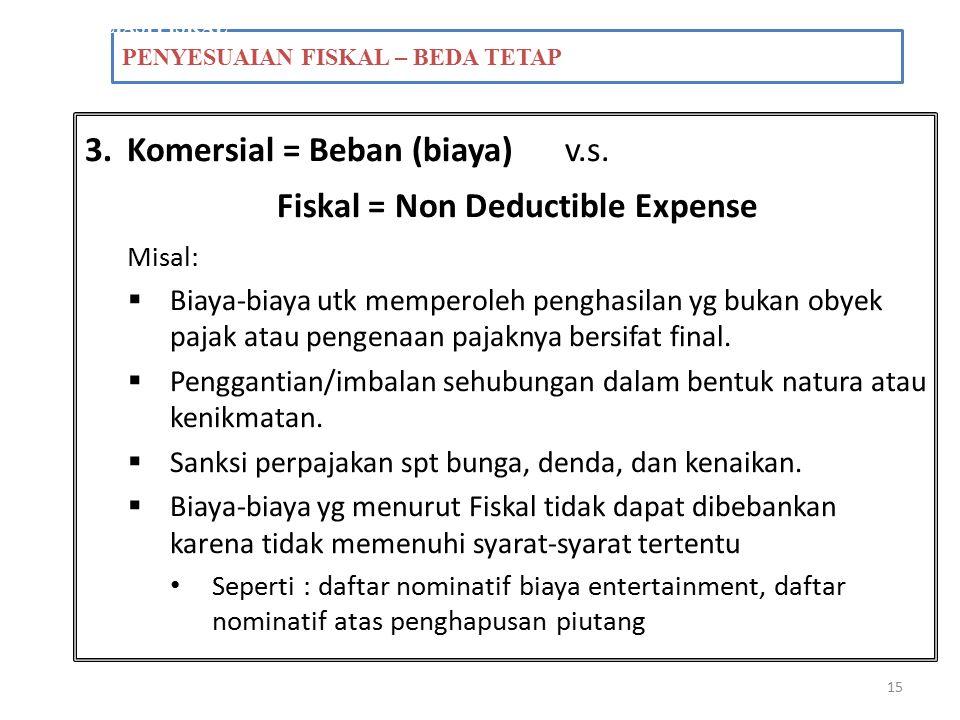 15 PENYESUAIAN FISKAL – BEDA TETAP REKONSILIASI FISKAL 3.Komersial = Beban (biaya) v.s. Fiskal = Non Deductible Expense Misal:  Biaya-biaya utk mempe