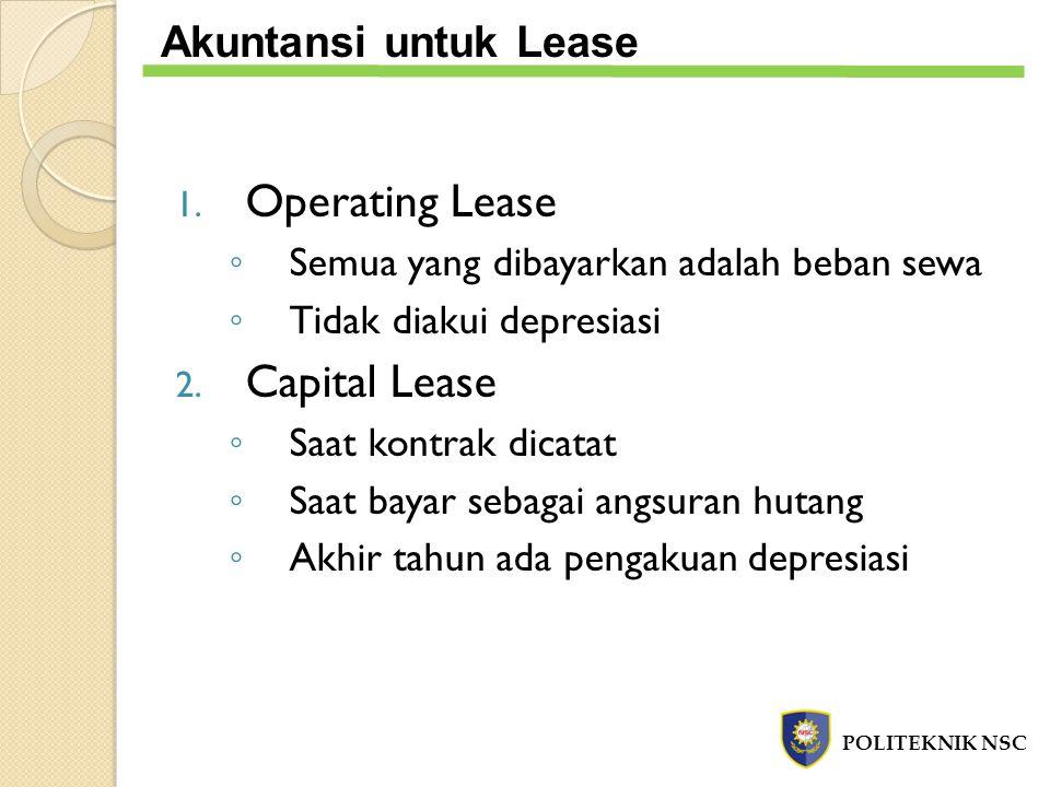 1. Operating Lease ◦ Semua yang dibayarkan adalah beban sewa ◦ Tidak diakui depresiasi 2. Capital Lease ◦ Saat kontrak dicatat ◦ Saat bayar sebagai an