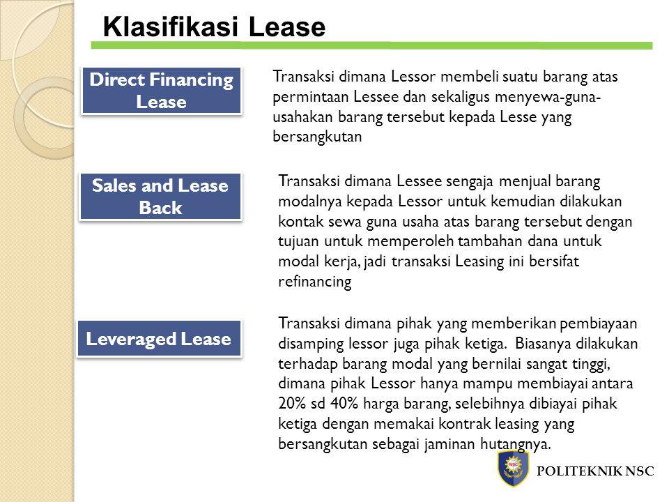 POLITEKNIK NSC Klasifikasi Lease Direct Financing Lease Transaksi dimana Lessor membeli suatu barang atas permintaan Lessee dan sekaligus menyewa-guna