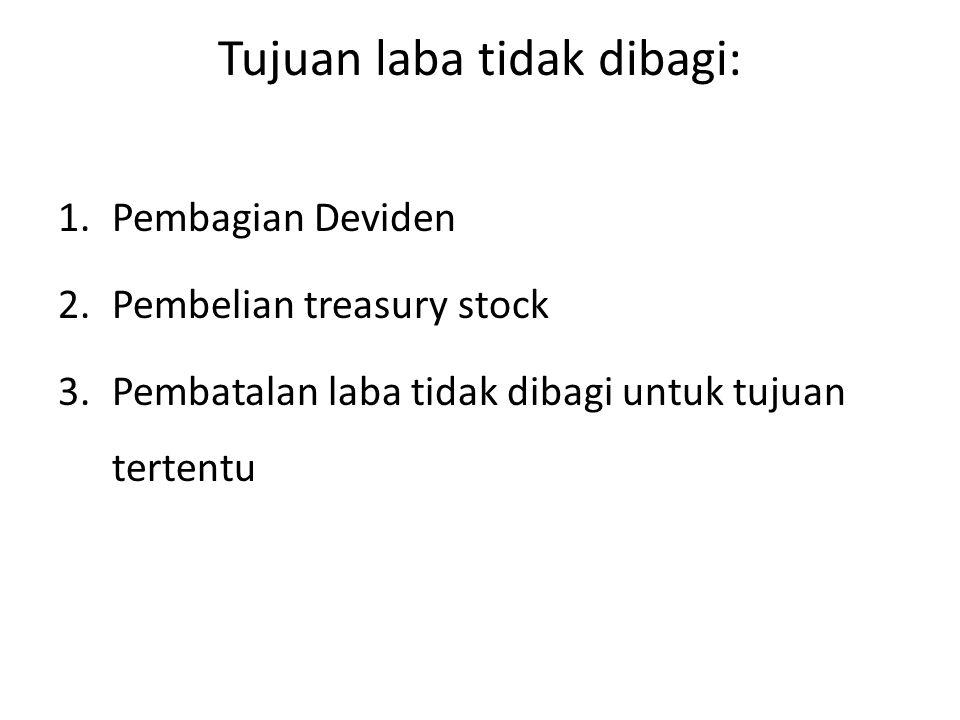 Tujuan laba tidak dibagi: 1.Pembagian Deviden 2.Pembelian treasury stock 3.Pembatalan laba tidak dibagi untuk tujuan tertentu