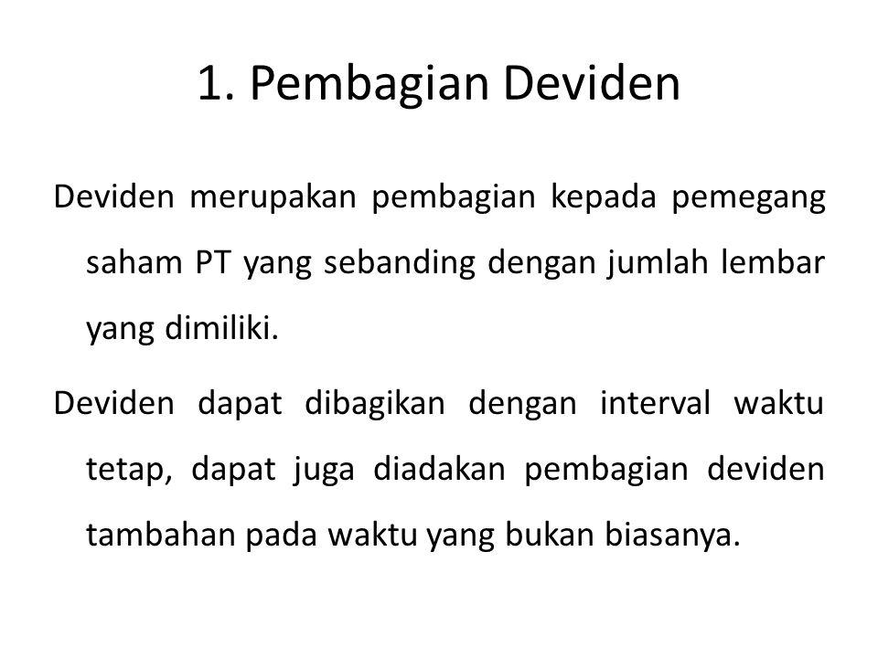 Bentuk-bentuk pembagian deviden: 1.Deviden Kas 2.Deviden aktiva selain kas 3.Deviden utang 4.Deviden Likuidasi 5.Deviden Saham