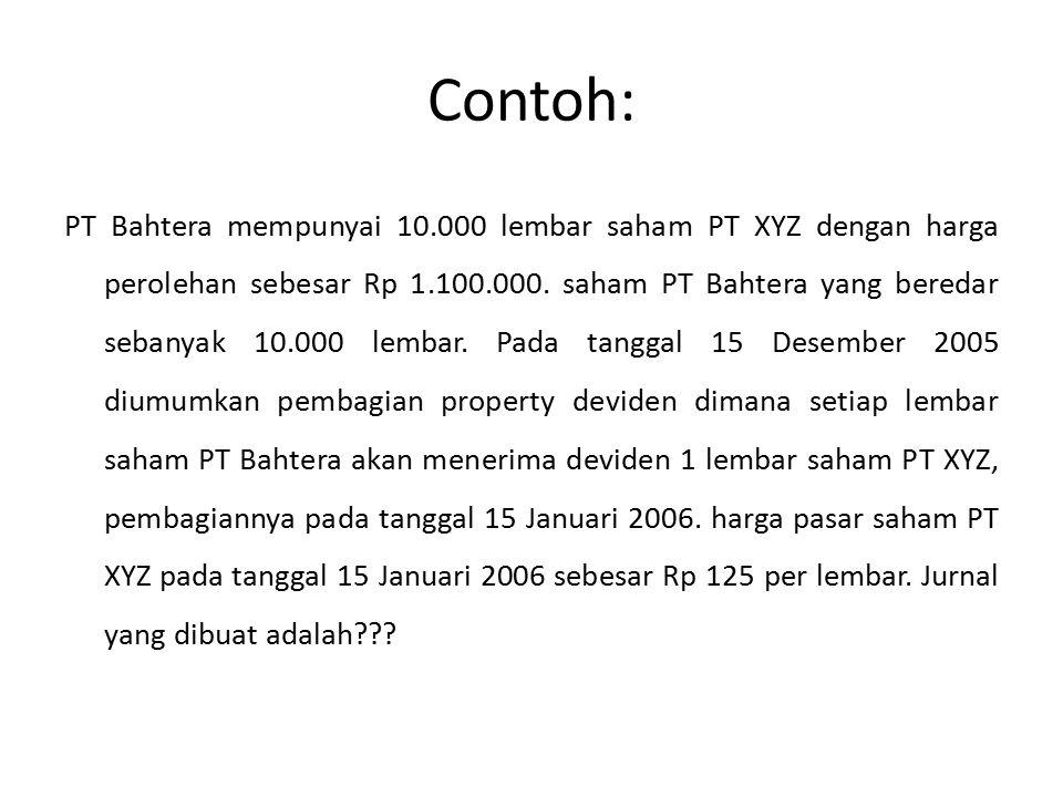 Contoh: PT Bahtera mempunyai 10.000 lembar saham PT XYZ dengan harga perolehan sebesar Rp 1.100.000. saham PT Bahtera yang beredar sebanyak 10.000 lem