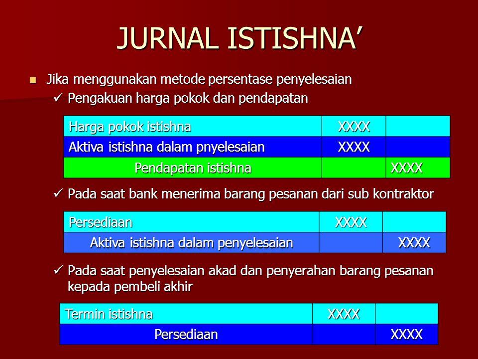 JURNAL ISTISHNA' Jika menggunakan metode persentase penyelesaian Jika menggunakan metode persentase penyelesaian Pengakuan harga pokok dan pendapatan