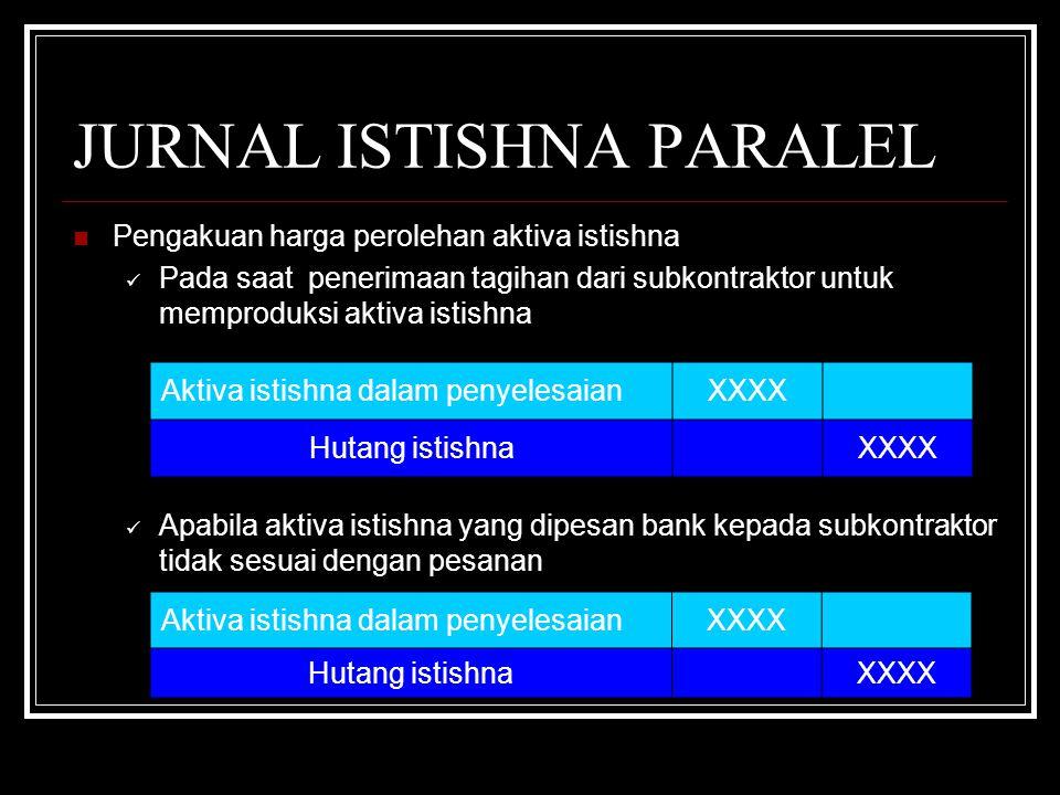 JURNAL ISTISHNA PARALEL Pengakuan harga perolehan aktiva istishna Pada saat penerimaan tagihan dari subkontraktor untuk memproduksi aktiva istishna Apabila aktiva istishna yang dipesan bank kepada subkontraktor tidak sesuai dengan pesanan Aktiva istishna dalam penyelesaianXXXX Hutang istishna XXXX Aktiva istishna dalam penyelesaianXXXX Hutang istishna XXXX
