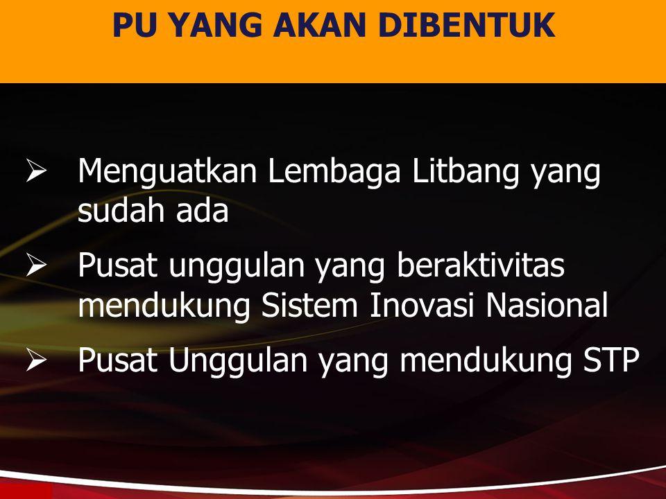  Menguatkan Lembaga Litbang yang sudah ada  Pusat unggulan yang beraktivitas mendukung Sistem Inovasi Nasional  Pusat Unggulan yang mendukung STP P