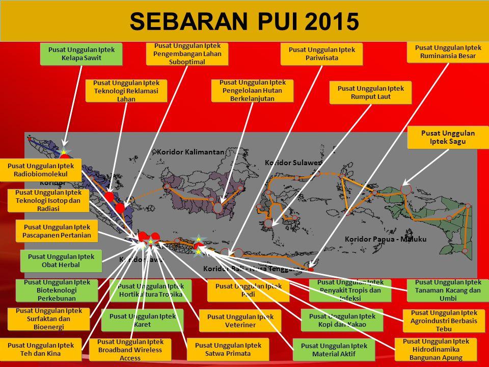 Pusat Unggulan Iptek Kelapa Sawit Koridor Sumatera Koridor Kalimantan Koridor Sulawesi Koridor Jawa Koridor Bali - Nusa Tenggara Koridor Papua - Maluk