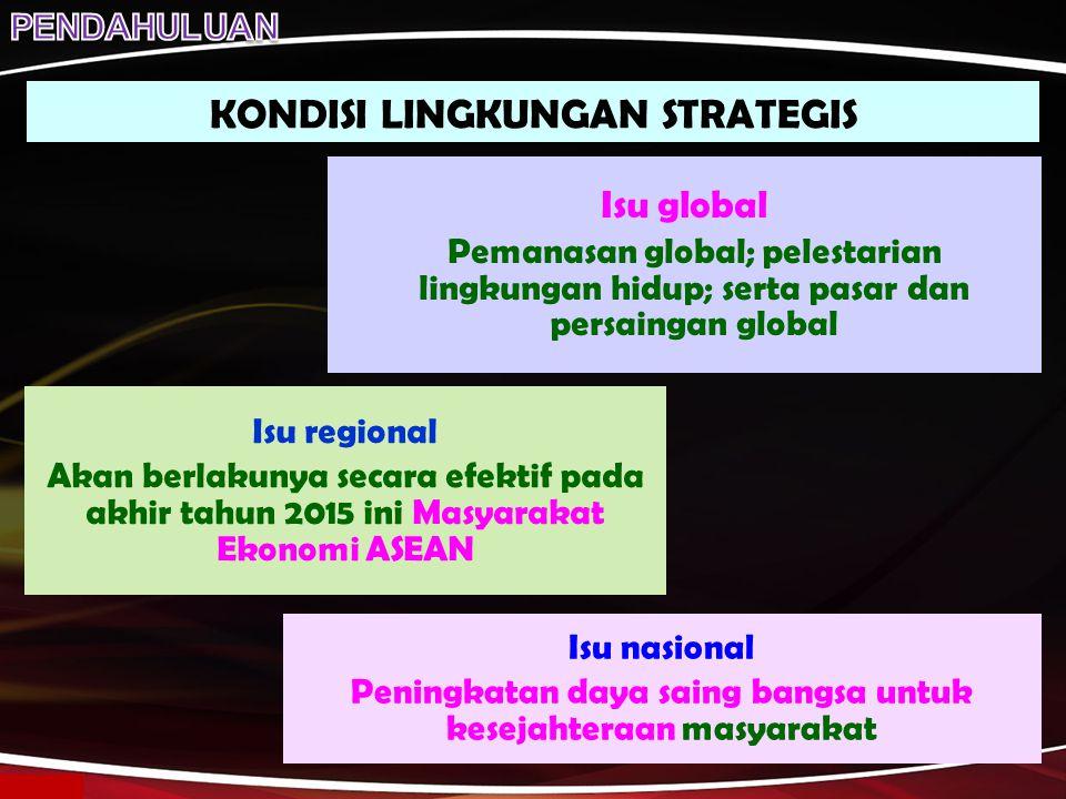 KONDISI LINGKUNGAN STRATEGIS Isu global Pemanasan global; pelestarian lingkungan hidup; serta pasar dan persaingan global Isu regional Akan berlakunya