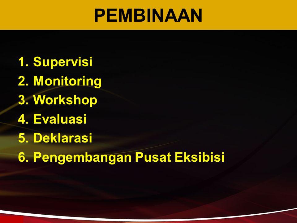 PEMBINAAN 1.Supervisi 2.Monitoring 3.Workshop 4.Evaluasi 5.Deklarasi 6.Pengembangan Pusat Eksibisi