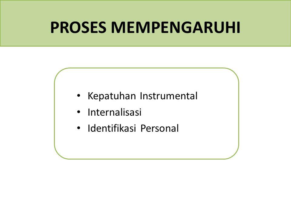 PROSES MEMPENGARUHI Kepatuhan Instrumental Internalisasi Identifikasi Personal