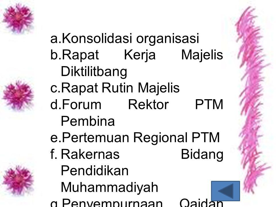 a. Konsolidasi organisasi b. Rapat Kerja Majelis Diktilitbang c. Rapat Rutin Majelis d. Forum Rektor PTM Pembina e. Pertemuan Regional PTM f. Rakernas
