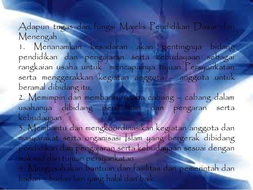 Adapun tugas dan fungsi Majelis Pendidikan Dasar dan Menengah 1.