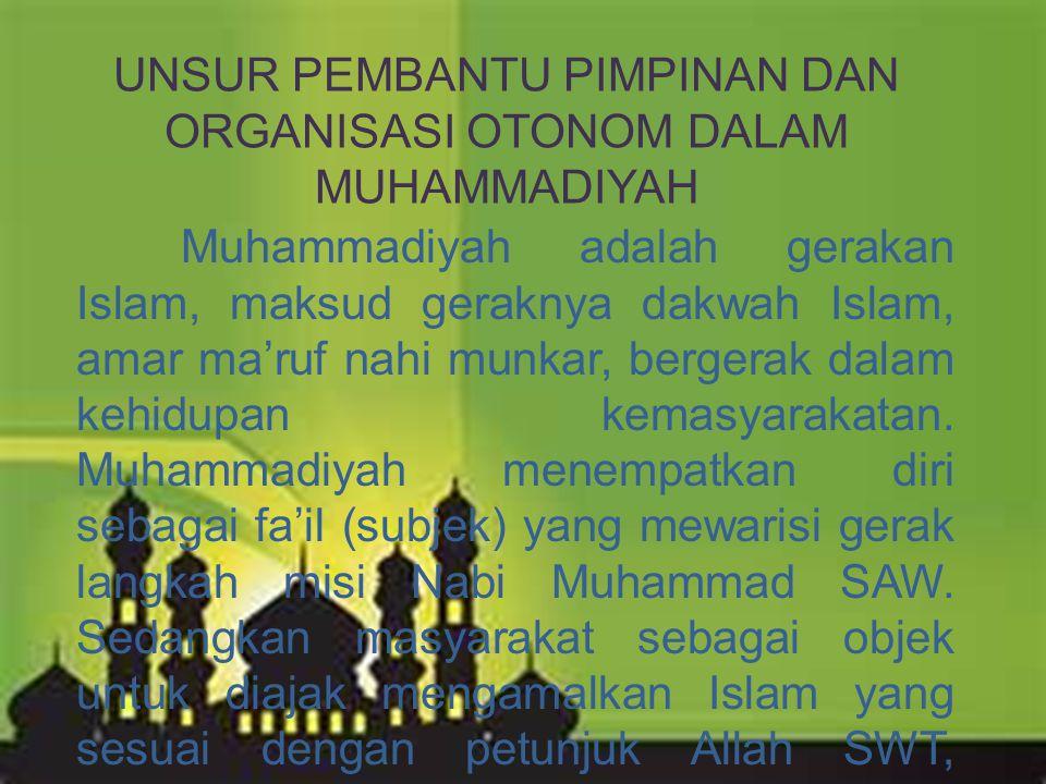 Muhammadiyah adalah gerakan Islam, maksud geraknya dakwah Islam, amar ma'ruf nahi munkar, bergerak dalam kehidupan kemasyarakatan. Muhammadiyah menemp