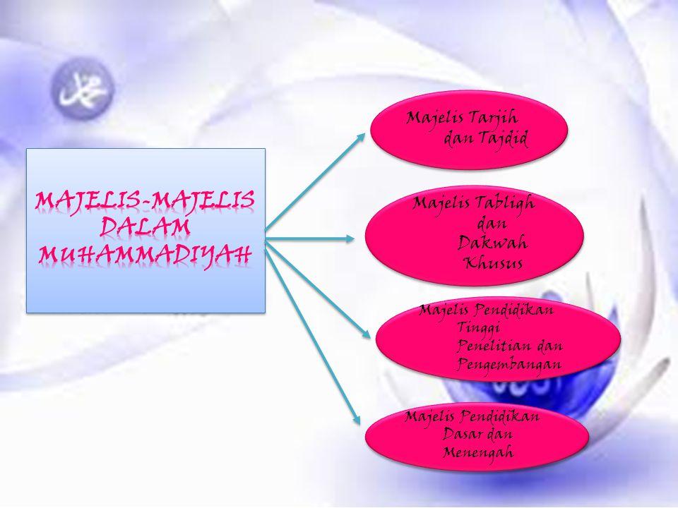 Majelis Tarjih dan Tajdid Majelis Tabligh dan Dakwah Khusus Majelis Pendidikan Tinggi Penelitian dan Pengembangan Majelis Pendidikan Dasar dan Menenga