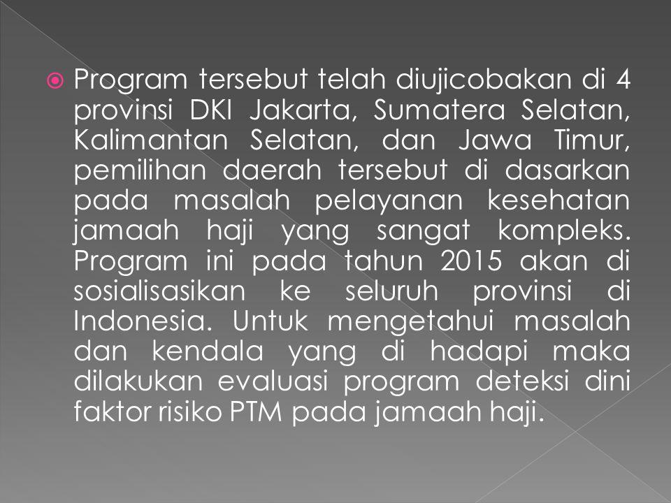  Program tersebut telah diujicobakan di 4 provinsi DKI Jakarta, Sumatera Selatan, Kalimantan Selatan, dan Jawa Timur, pemilihan daerah tersebut di dasarkan pada masalah pelayanan kesehatan jamaah haji yang sangat kompleks.