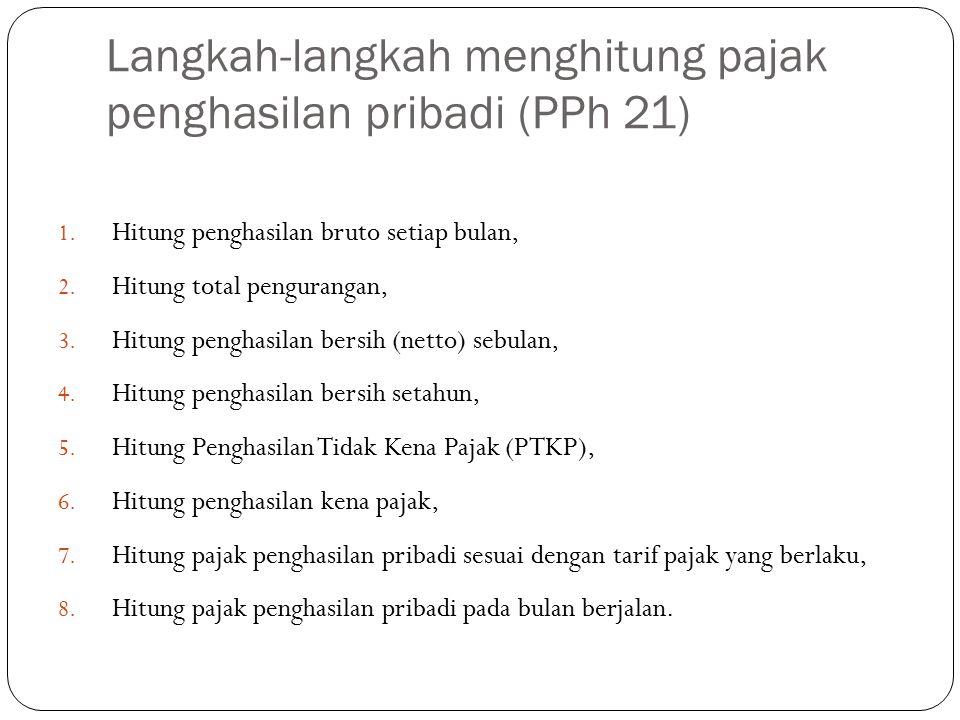 Langkah-langkah menghitung pajak penghasilan pribadi (PPh 21) 1.