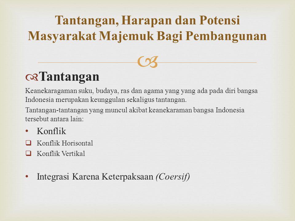   Tantangan Keanekaragaman suku, budaya, ras dan agama yang yang ada pada diri bangsa Indonesia merupakan keunggulan sekaligus tantangan. Tantangan-