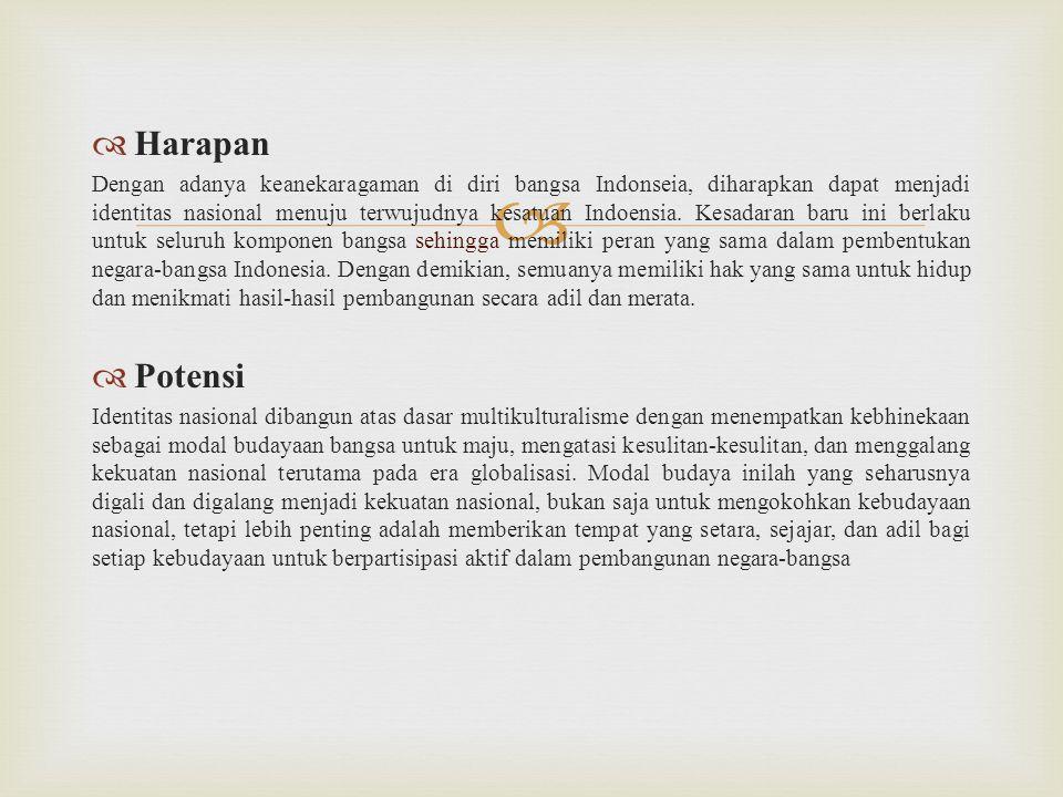   Harapan Dengan adanya keanekaragaman di diri bangsa Indonseia, diharapkan dapat menjadi identitas nasional menuju terwujudnya kesatuan Indoensia.