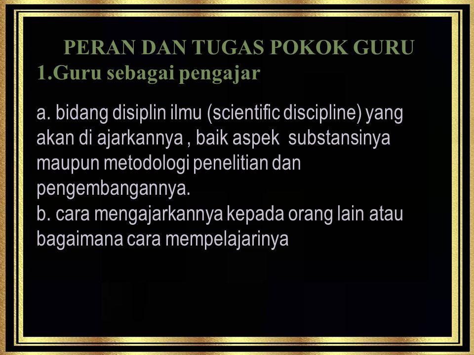 PERAN DAN TUGAS POKOK GURU 1.Guru sebagai pengajar a.