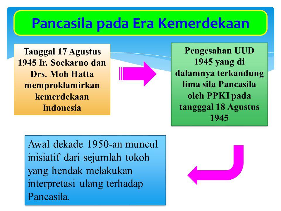 Pancasila pada Era Kemerdekaan Tanggal 17 Agustus 1945 Ir. Soekarno dan Drs. Moh Hatta memproklamirkan kemerdekaan Indonesia Pengesahan UUD 1945 yang