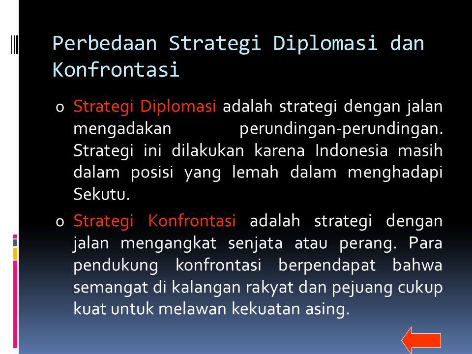 Perbedaan Strategi Diplomasi dan Konfrontasi o Strategi Diplomasi adalah strategi dengan jalan mengadakan perundingan-perundingan. Strategi ini dilaku