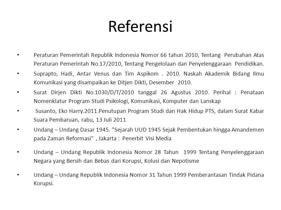 Referensi Peraturan Pemerintah Republik Indonesia Nomor 66 tahun 2010, Tentang Perubahan Atas Peraturan Pemerintah No.17/2010, Tentang Pengelolaan dan Penyelenggaraan Pendidikan.
