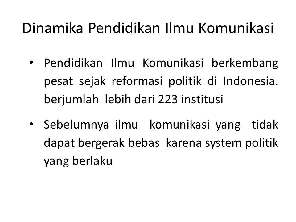 Dinamika Pendidikan Ilmu Komunikasi Pendidikan Ilmu Komunikasi berkembang pesat sejak reformasi politik di Indonesia.