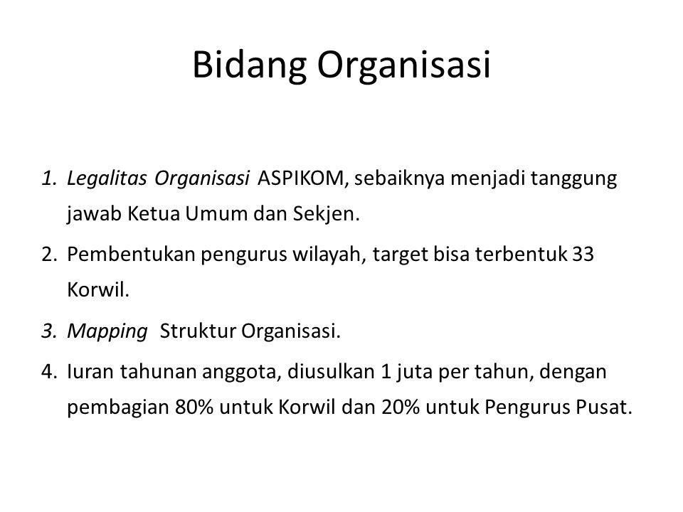 Bidang Organisasi 1.Legalitas Organisasi ASPIKOM, sebaiknya menjadi tanggung jawab Ketua Umum dan Sekjen.