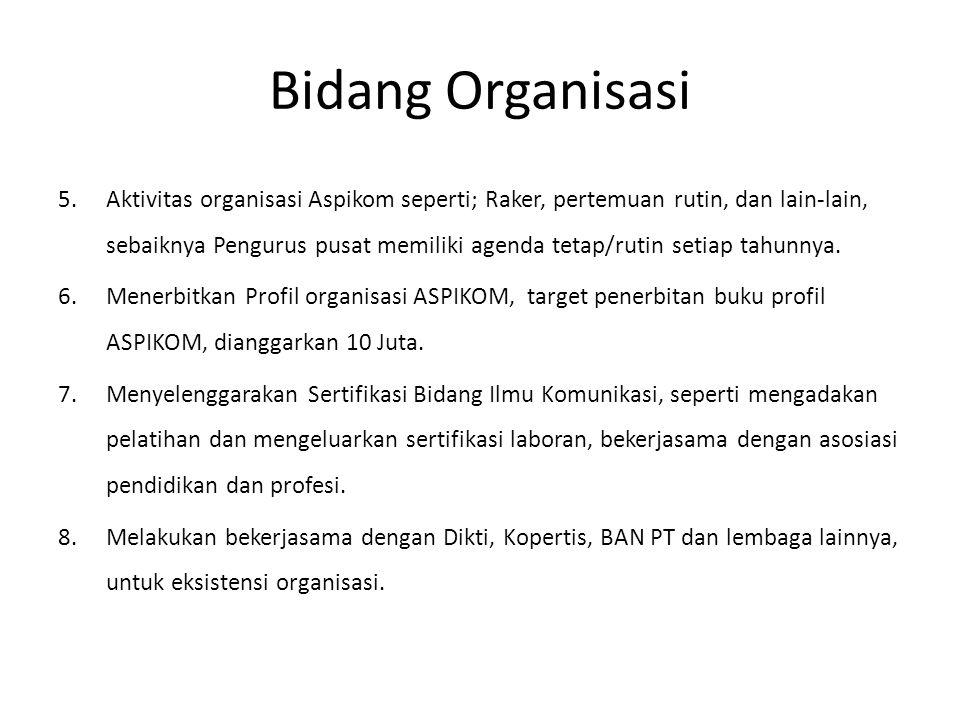 Bidang Organisasi 5.Aktivitas organisasi Aspikom seperti; Raker, pertemuan rutin, dan lain-lain, sebaiknya Pengurus pusat memiliki agenda tetap/rutin setiap tahunnya.