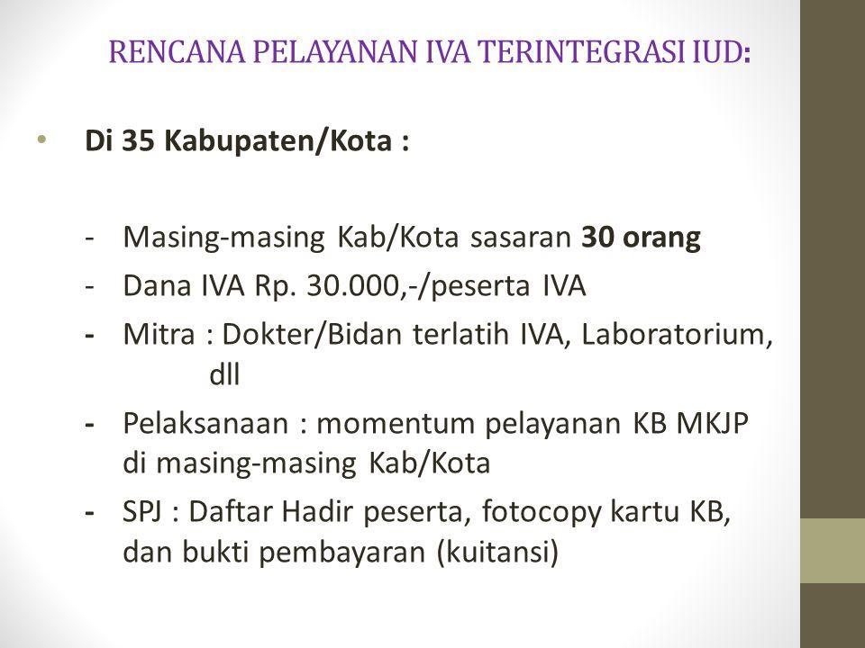 RENCANA PELAYANAN IVA TERINTEGRASI IUD: Di 35 Kabupaten/Kota : - Masing-masing Kab/Kota sasaran 30 orang -Dana IVA Rp. 30.000,-/peserta IVA - Mitra :