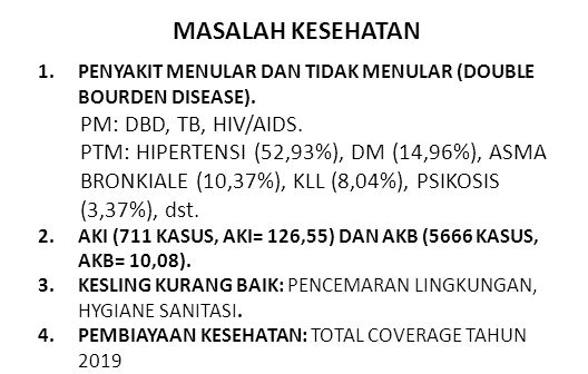 MASALAH KESEHATAN 1.PENYAKIT MENULAR DAN TIDAK MENULAR (DOUBLE BOURDEN DISEASE). PM: DBD, TB, HIV/AIDS. PTM: HIPERTENSI (52,93%), DM (14,96%), ASMA BR