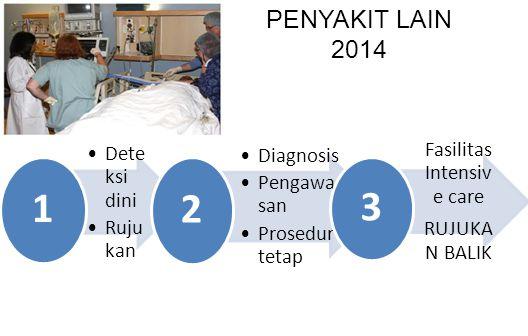 PENYAKIT LAIN 2014 Dete ksi dini Ruju kan 1 Diagnosis Pengawa san Prosedur tetap 2 Fasilitas Intensiv e care RUJUKA N BALIK 3