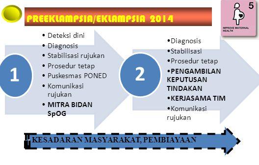 Deteksi dini Diagnosis Stabilisasi rujukan Prosedur tetap Puskesmas PONED Komunikasi rujukan MITRA BIDAN SpOG 1 Diagnosis Stabilisasi Prosedur tetap PENGAMBILAN KEPUTUSAN TINDAKAN KERJASAMA TIM Komunikasi rujukan 2 KESADARAN MASYARAKAT, PEMBIAYAAN PREEKLAMPSIA/EKLAMPSIA 2014