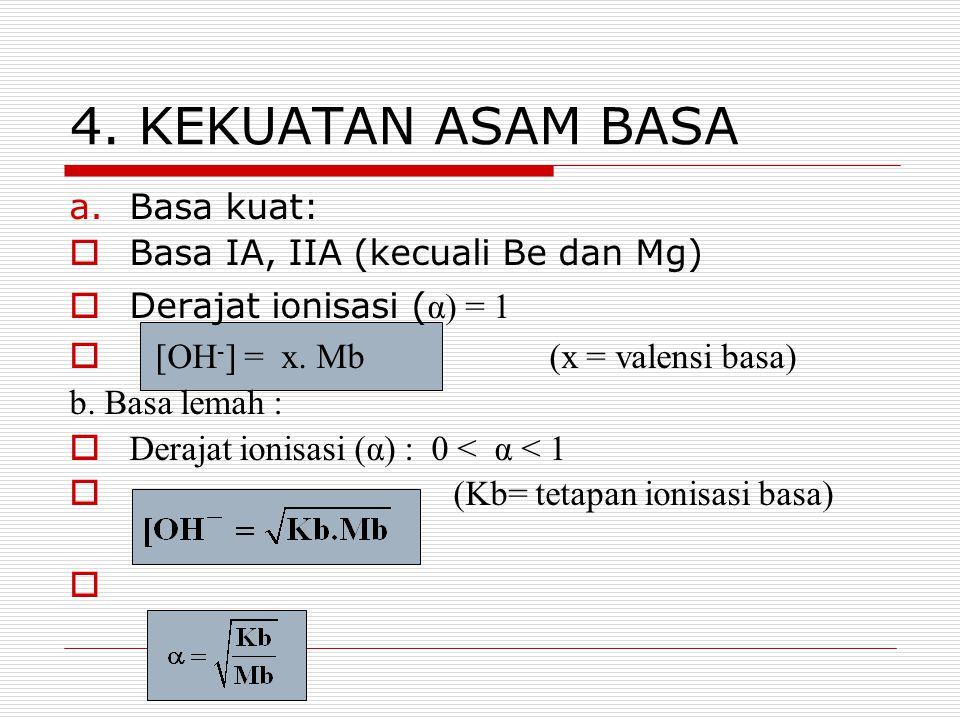4. KEKUATAN ASAM BASA a.Basa kuat:  Basa IA, IIA (kecuali Be dan Mg)  Derajat ionisasi ( α) = 1  [OH - ] = x. Mb(x = valensi basa) b. Basa lemah :