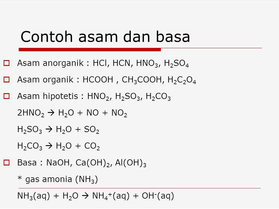 Contoh asam dan basa  Asam anorganik : HCl, HCN, HNO 3, H 2 SO 4  Asam organik : HCOOH, CH 3 COOH, H 2 C 2 O 4  Asam hipotetis : HNO 2, H 2 SO 3, H