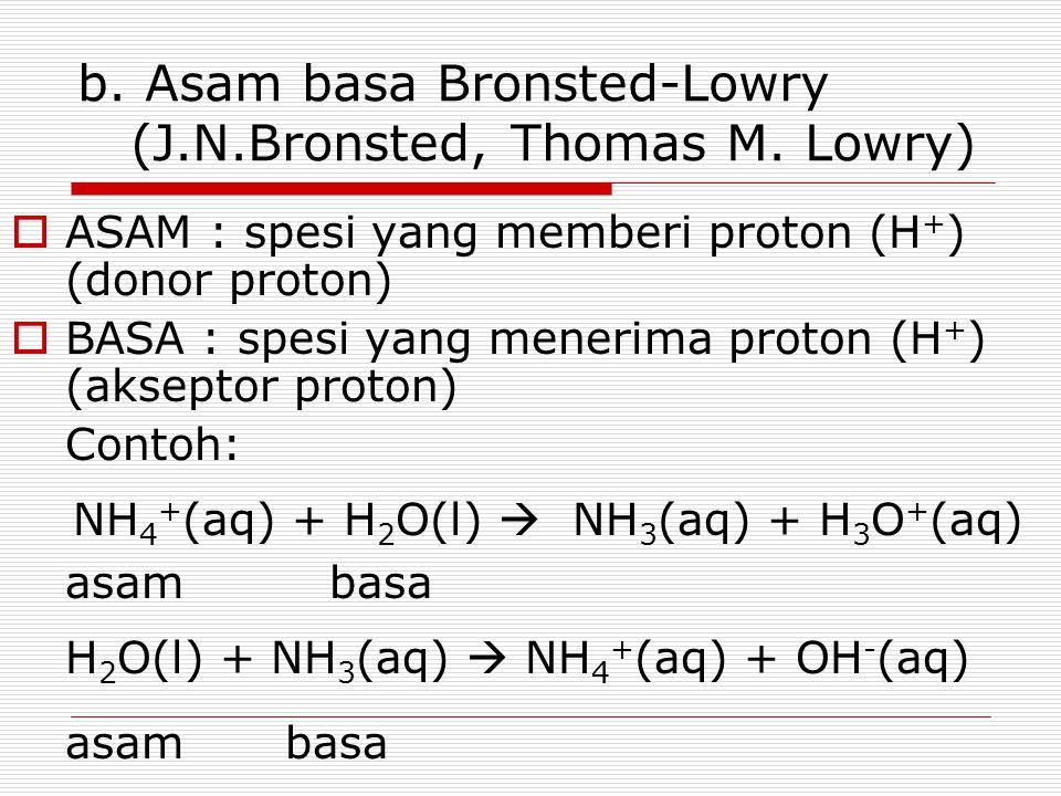 b. Asam basa Bronsted-Lowry (J.N.Bronsted, Thomas M. Lowry)  ASAM : spesi yang memberi proton (H + ) (donor proton)  BASA : spesi yang menerima prot